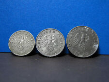 Germania TERZO REICH 1; 5; 10 reichspfennings, GERMAN EAGLE, NAZISMO SVASTICA 1941-1944