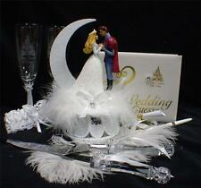 Disney Sleeping Beauty set Wedding Cake Topper LOT Glasses knife book Fairytale