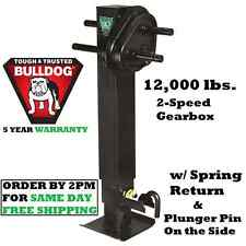 "BULLDOG 2-SPEED TRAILER JACK 12,000 lbs DROP LEG W/ SPRING RETURN 12.5"" LIFT"