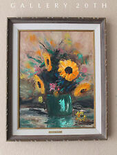 VIVID MID CENTURY MODERN SUNFLOWERS OIL PAINTING! Flowers Original 50's Eames