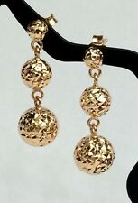 18k Solid Yellow Gold Three Balls Stud Dangle Earrings, Diamond Cut 2.50grams