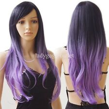 Colorful Ombre Long Cosplay Costume Wig Synthetic Hair Wig Curly Wavy Women Lady