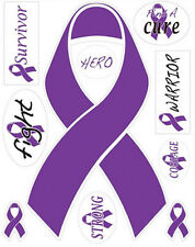 CANCER AWARENESS PURPLE SUPPORT RIBBONS wall stickers 10 decals survivor car