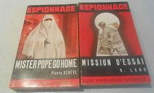 lot 2 romans policiers collection ancienne ESPIONNAGE / LES PRESSES NOIRES 1965
