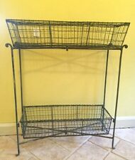 Rustic Wire BASKET metal Kitchen Rack Cart Storage Baskets Shelves