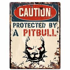 PP2068 CAUTION PROTECTED BY A PITBULL Plate Chic Sign Home Store Door Decor