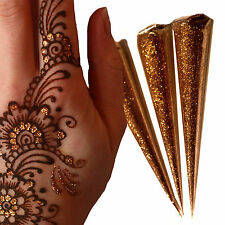 WOW 3 x LARGE 25g Gold Glitter Gel Cones!! Henna Tattoo Gilding, Body Art   jx3