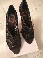 Christian Dior Ladies Open Toes Metallic Brown Color Shoes (37 1/2)