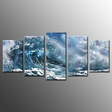 FRAMED Wall Art Painting Rough Sea Stretched Canvas Print Art Home Decor-5pcs