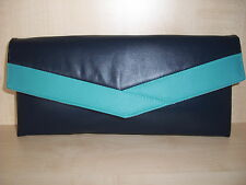 TURQUOISE & NAVY BLUE faux leather envelope clutch bag, clasp, BN,