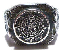VINTAGE MENS MEXICO BIKER RING MEXICAN STERLING SILVER WARRIOR SHIELD BAND SZ10