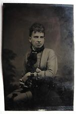 FERROTYPE PHOTO ANCIENNE PORTRAIT FEMME O973