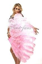 "Pink Burlesque fan 2 layers Ostrich Feathers 54"" dancing fan with gift box"