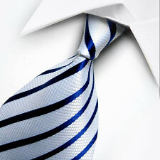 UK0059 Blue White Striped New Silk Classic JACQUARD Woven Men's Tie Necktie