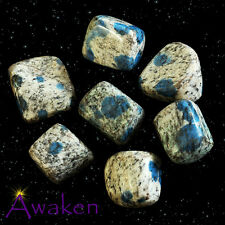 *ONE* K2 BLUE (Azurite / White Granite) Natural Tumbled Stone Approx 10-15mm *TR