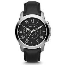 Fossil FS4812 New Original * GRANT Black Chronograph Black Leather * Men's Watch