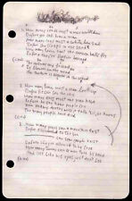 BOB DYLAN REPRO 1963 - BLOWIN' IN THE WIND - HANDWRITTEN LYRICS . NOT CD DVD