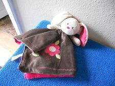 carters plush bunny blanket brown ink vgc  CUTE