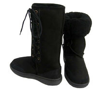 Black Ultra Tall Sheepskin Boots Moulded Sole Laceup Wool Boot New