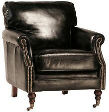 "Set of Two 29"" W club arm chair vintage soft black leather brass casters classic"