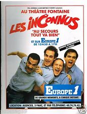 Publicité Advertising 1988 Spectacle Les Inconnus sur Radio Europe 1