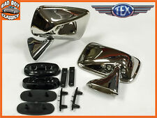 Pair of Genuine TEX O/E Quality Classic Door Mirrors Stainless Steel