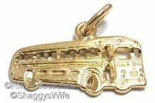 Transit Bus Charm School Bus Pendant EP Gold Plated with Lifetime Guarantee!