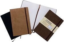 A6 morbido al tatto plain notebook-Tasca espandibile-come Moleskine-Marrone scuro