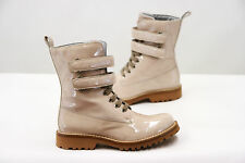 NWD $1360 Brunello Cucinelli Womens Beige Patent Leather Lace-Up Boots Sz37/7US