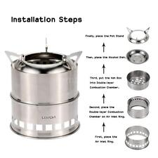 Portable Stainless Steel Wood Stove Alcohol Stove Burner Cooking Camping I6V9