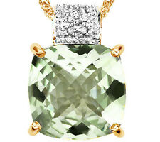 6.61 CT GREEN AMETHYST & GENUINE DIAMOND 18K YELLOW GOLD OVER S.SILVER PENDANT