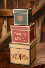 New Primitive COUNTRY LIVING Star Heart Vine Storage Nesting Stacking Boxes