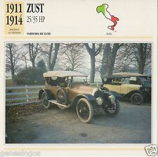 FICHE AUTOMOBILE GLACEE ITALIE CAR ZUST 25/35 HP 1911-1914