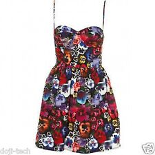 Topshop Floral Pansy Skull Day Of The Dead Mini Corset Prom Sun Dress 8 36 US4 S