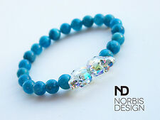Men's Apatite Double Skull Bracelet with Swarovski Crystal 7-8'' Elasticated