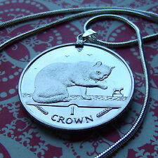 """Rare 1999 Isle of Man British Blue Cat Coin on a 30"""" White Gold Filled Necklace."""