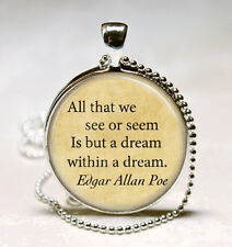 Edgar Allan Poe Book Necklace Poe Jewelry Dream Within A Dream Literary Quote