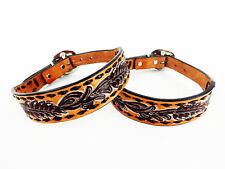 "14"" HANDMADE WESTERN STYLE BUCK STITCH TOOLED LEATHER CANINE DOG COLLAR SMALL"
