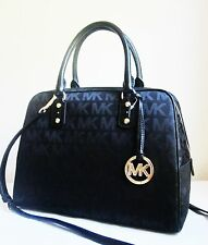 MICHAEL MICHAEL KORS Black MK SIGNATURE LG SATCHEL Bag Handbag Purse