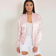 New Women Ladies Satin Bomber Jacket Vintage Coat Flight Army Biker Retro Zip Up