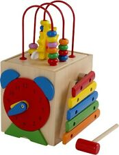 Small Wooden Activity Cube Preschool Toy Abacus Shape Sorter Clock Educational
