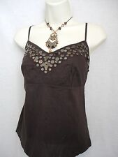 MARKS & SPENCER BROWN STRAPPY TOP SIZE 12 (EUR 40) - NEW