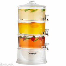 VonShef 3 Tier Party Drinks Dispenser Cocktail Soft Drink Juice Taps 10.5L
