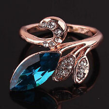 AWESOME 14K GOLD FILLED AUSTRIAN CRYSTAL AQUAMARINE RING SZ. 9 (J854)