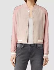 All Saints Leather & Suede Bomber Jacket Dusty Pink Size Uk 14 RRP:£298