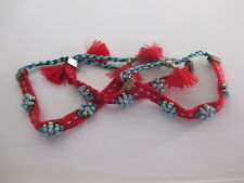 Anthropologie Red Braided Turq tassel Friendship Bracelet Set of 3 NIP $9.99 EA