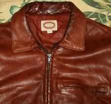Vtg BANANA REPUBLIC Brown Distressed Leather Bomber Jacket Made In USA Large L