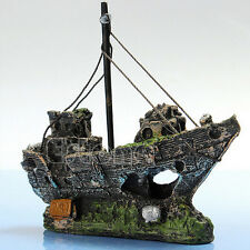 Aquarium Ornament Wreck Sailing Boat Sunk Ship Destroyer Fish Tank Cave Decor