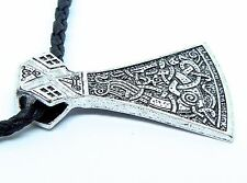 Viking Mammen Axe Pendant - Symbolic Nordic Warrior Jewelry, Braid Cord Necklace