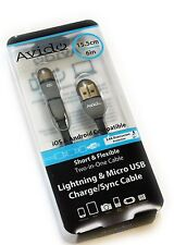 Avido Short *Two-In-One* Apple Lightning & Micro USB Charge/Data Sync Cable NEW